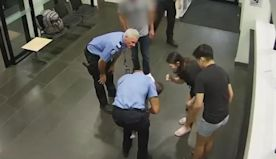 A security camera captured a police officer in Australia saving a choking baby