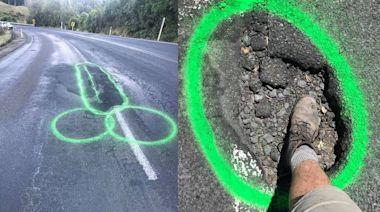 看不慣馬路坑坑疤疤 男子畫「大GG」只求路平