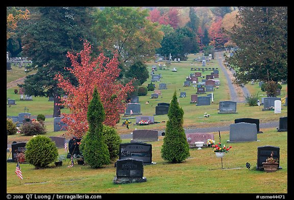 Picture/Photo: Grassy cemetery in the fall, Greenville. Maine, USA
