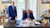 Inside Trump's Mar-a-Lago office with a REPLICA Resolute Desk