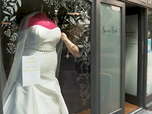 Bridal shop owner says size 32 mannequin in shop window is 'jeered at'