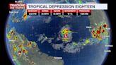Tropical Depression 18 forms in the Atlantic Ocean
