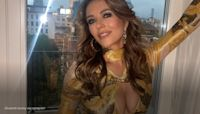 Elizabeth Hurley looks 'unbelievable' in gold Fendace dress
