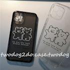 百分手機殼~二個好朋友黑白熊熊情侶11promax手機殼iPhone12透明方邊軟殼xr7p