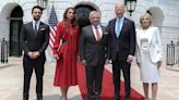 Queen Rania Reigns in Red While Visiting the Bidens at the White House with King Abdullah II