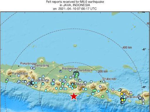 印尼爪哇南方海域強震!規模達6級