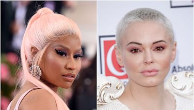 Rose McGowan 'stands with Nicki Minaj' after her controversial vaccine claims, in a cryptic Instagram post referencing cult leaders and the 'powerful elite'