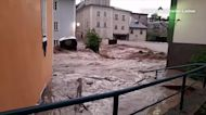 Footage shows torrential flood waters in Austrian town