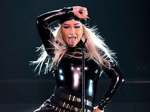 Christina Aguilera Rocks Black Latex Look During Performance for Virgin Hotels Las Vegas Grand Opening