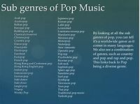 Research on sub genres of pop music