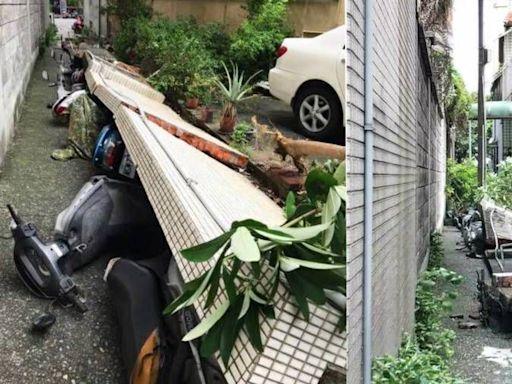獨家 台中強風吹倒民宅圍牆 刷一整排機車!災情影片曝光   蘋果新聞網   蘋果日報