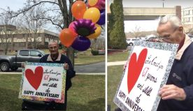 Separated By Coronavirus, Husband Celebrates 67th Anniversary Outside Wife's Nursing Home