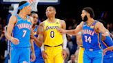 Westbrook tossed as Lakers collapse in OKC