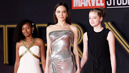 Angelina Jolie Holds Hands with Zahara and Shiloh at Eternals Premiere in Rome