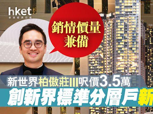 新世界柏傲莊III呎價3.5萬 創新界標準分層戶新高 鄭志剛:銷情價量兼備 - 香港經濟日報 - 地產站 - 新盤消息 - 新盤新聞