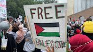 Demonstrators break through barrier at pro-Palestine protest