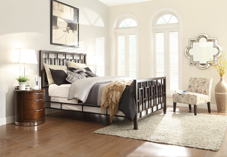 ... > Bedroom Furniture > Beds > Zelda Brown Powder Coat Metal Bed