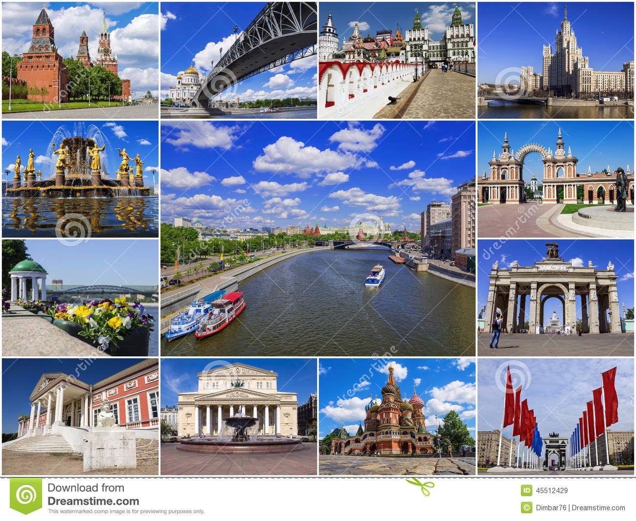 Atrações Históricas De Moscou, Rússia (colagem) Imagem de ...