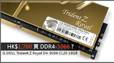 HK$1,700 買 DDR4-5066 ? G.SKILL Trident Z Royal D4-5066 CL20 16GB