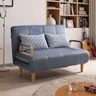 Boden-妮德灰色布沙發床/雙人椅/二人座(送抱枕)