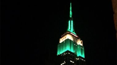 Empire State Building Turns Green and Gold for Australia Day