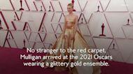Carey Mulligan Wore a Gold Crop Top With a Princess Skirt to the 2021 Oscars