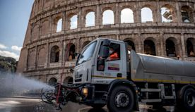 Unsettling photos show sanitation workers disinfecting famous monuments around the world