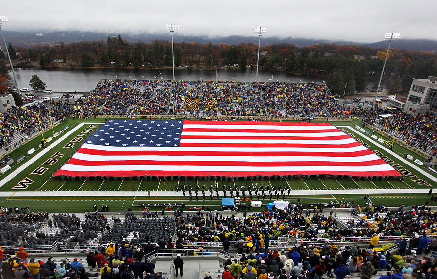 Army An American Flag Spans Michie Stadium Photograph