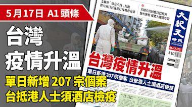 【A1頭候】台灣疫情升溫 單日新增207宗個案 台抵港人士須酒店檢疫