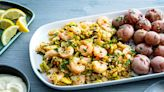 Pair shrimp with shredded Brussels sprouts and a garlicky aioli for a quick, festive supper