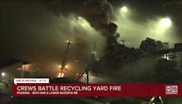 Crews battle large metal recycling yard fire in Phoenix Friday