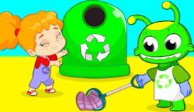Groovy The Martian educational cartoon videos | Recycle song for kids, clean up!
