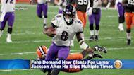 Ravens Fans Demand New Cleats For QB Lamar Jackson After He Slips Multiple Times