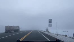 Dense Fog Limits Visibility in California's Sierra Nevada Mountains