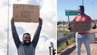 Dad Takes To Streets With Funny Signs To Spread Smiles After Losing His Job.