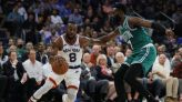 Jaylen Brown (46) erupts in an epic opener but Celtics stumble in double OT vs. the Knicks and other observations - The Boston Globe