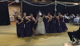 Edit Music starts then bride and bridesmaids perform epic 'Pitch Perfect' routine