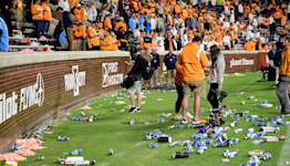 Play between Tennessee and Ole Miss halted as fans throw debris on Neyland Stadium field