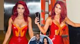 Kim Kardashian shows off curves in red latex catsuit after Kanye's Grammy nom