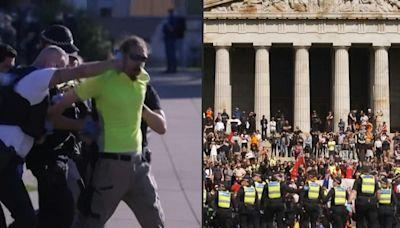 Police confront anti-vaccine protesters in Australia's Melbourne