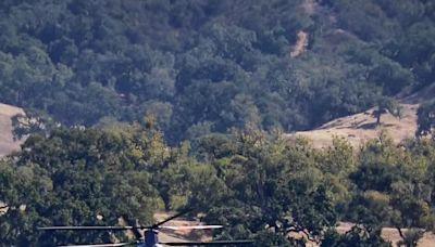 Helitanker Refills at Alisal Lake as Wildfire in Santa Barbara County Grows