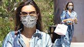Alessandra Ambrosio cuts a stylish figure in tie-dye midi dress in LA