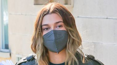 Hailey Baldwin's Leather Trench & 'Ceramic' Nikes Give the Monochrome Trend a Sneakerhead Twist