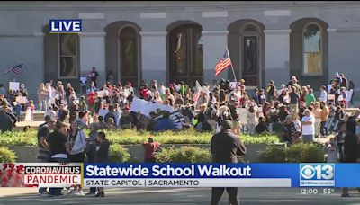 Hundreds Protest School COVID-19 Vaccine Mandate At California State Capitol