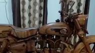 Wood carving artist creates replica Royal Enfield motorcycle