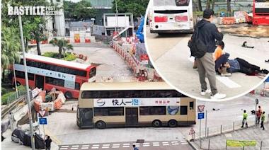 九龍城碼頭6C巴士撞傷途人 剷上行人路擱花槽 | 社會事