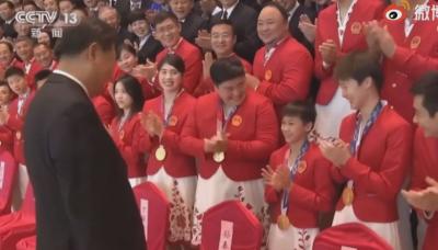 習近平接見中國奧運運動員 刻意只對全紅嬋說一句話