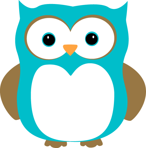 Blue and Brown Owl Clip Art Image - blue owl with blue eyes and brown ...