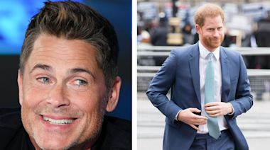 Rob Lowe says he saw Prince Harry driving in their neighborhood and it looked like the royal had a ponytail