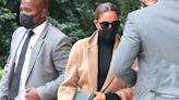 Meghan Markle Paired a Chic Camel Coat With a Black Dress and Heels to Visit the UN